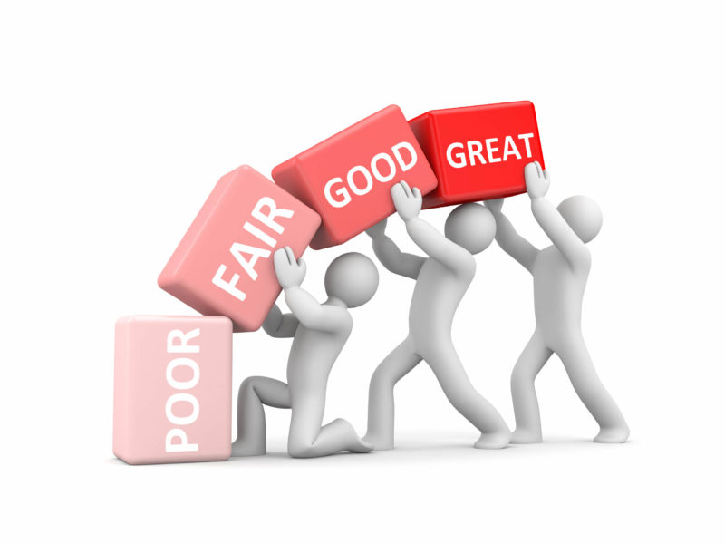 4 cubes for performance evaluation saying poor, fair, good and great